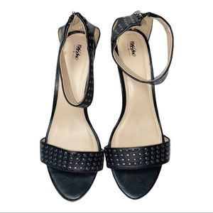 MOSSIMO Black Ankle Strap Heels w/Silver Studs 9